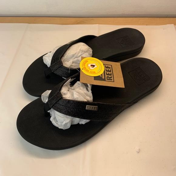 Womens Reef Cushion Bounce Court Black Comfort Thong Flip Flops Sz Size